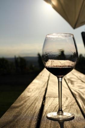wine glass on the boardwalk