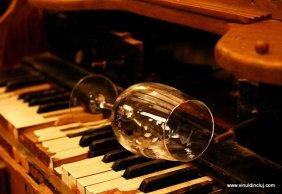 wine glass and keyboard