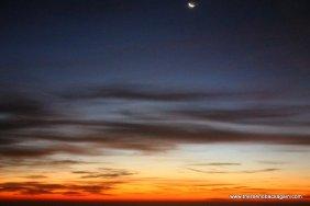 soft sunrise and moon