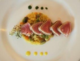 poached tuna with rattatouille and corn puree